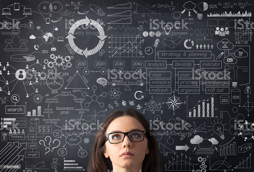 Businesswoman idea concept on blackboard Businesswoman idea concept on blackboard 2015 Stock Photo