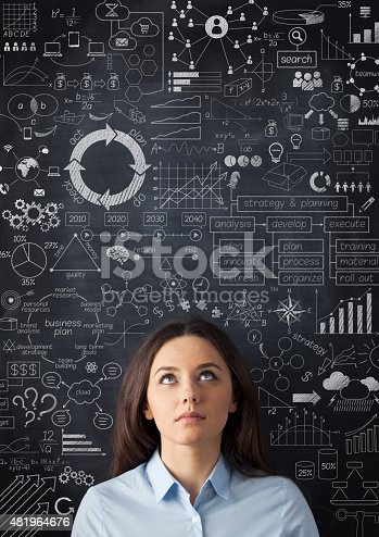 istock Businesswoman idea concept on blackboard 481964676