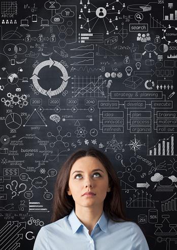 istock Businesswoman idea concept on blackboard 481964676