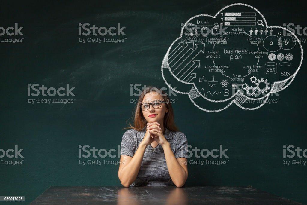 Businesswoman idea concept on blackboard stock photo