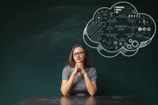 businesswoman idea concept on blackboard - thought bubble stock photos and pictures