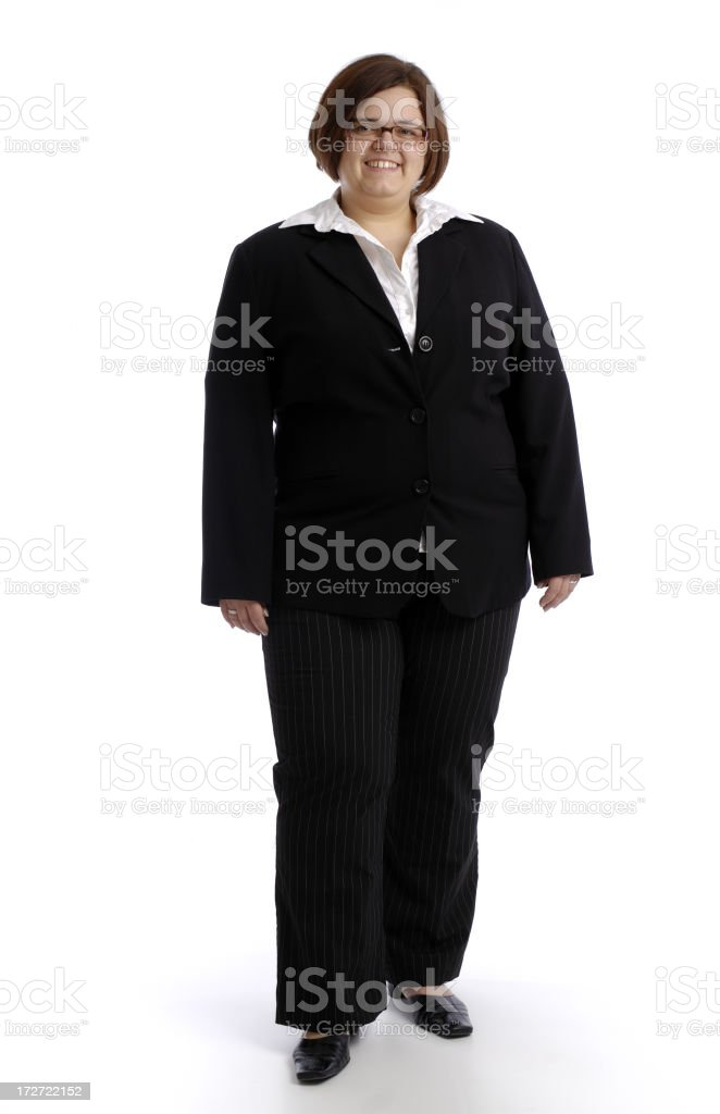 Businesswoman in a black suit on a white background royalty-free stock photo