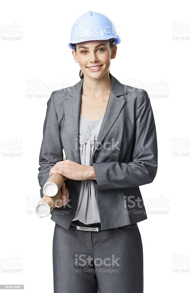 Businesswoman in a Hardhat With Blueprints royalty-free stock photo