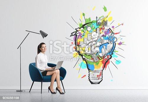 istock Businesswoman in armchair, business idea 925055158
