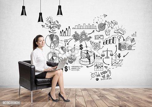 895493084 istock photo Businesswoman in armchair, business plan 923035804