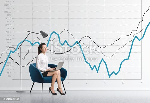istock Businesswoman in armchair, graphs 923869198