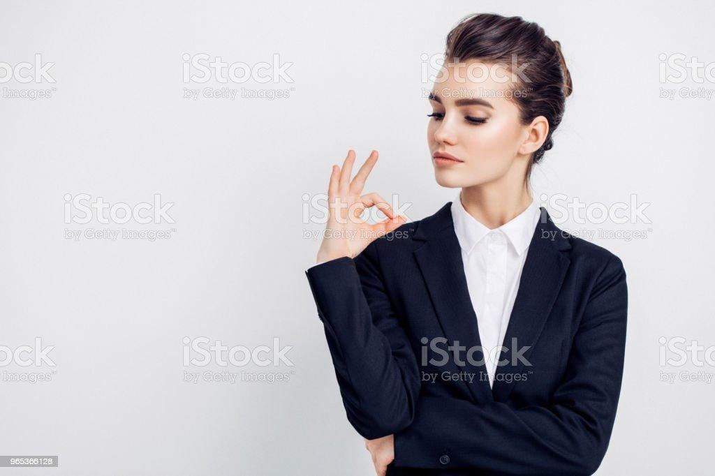 Businesswoman in black suit zbiór zdjęć royalty-free