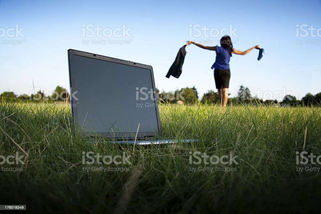 Businesswoman in Field stock photo