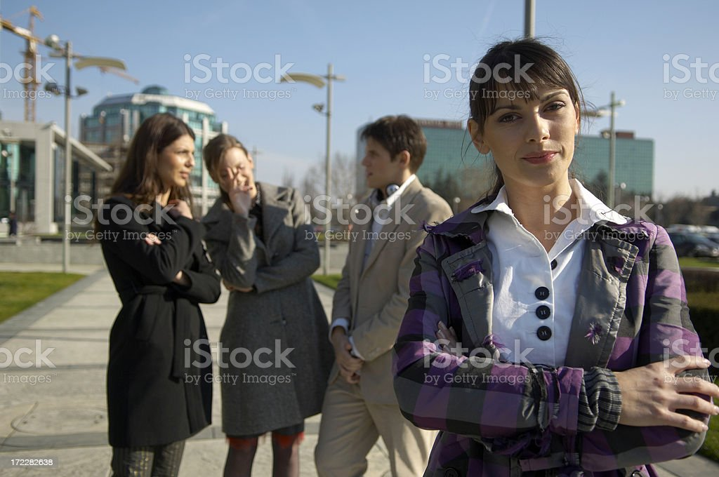 businesswoman in front of her team royalty-free stock photo