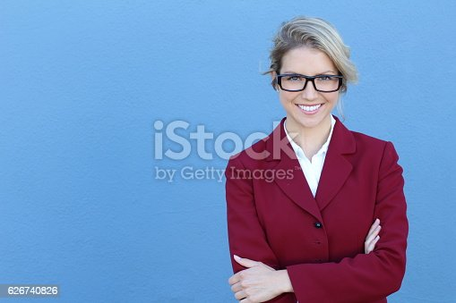 istock Businesswoman in glasses with PERFECT SMILE 626740826