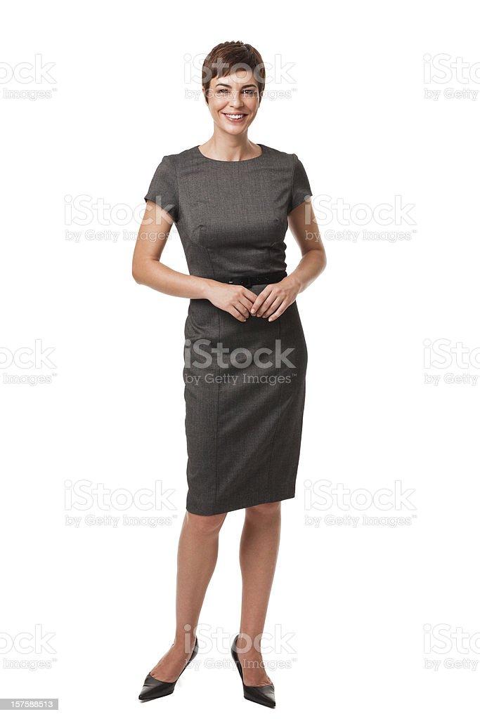 Geschäftsfrau in Grau Kleid, isoliert auf weiss – Foto