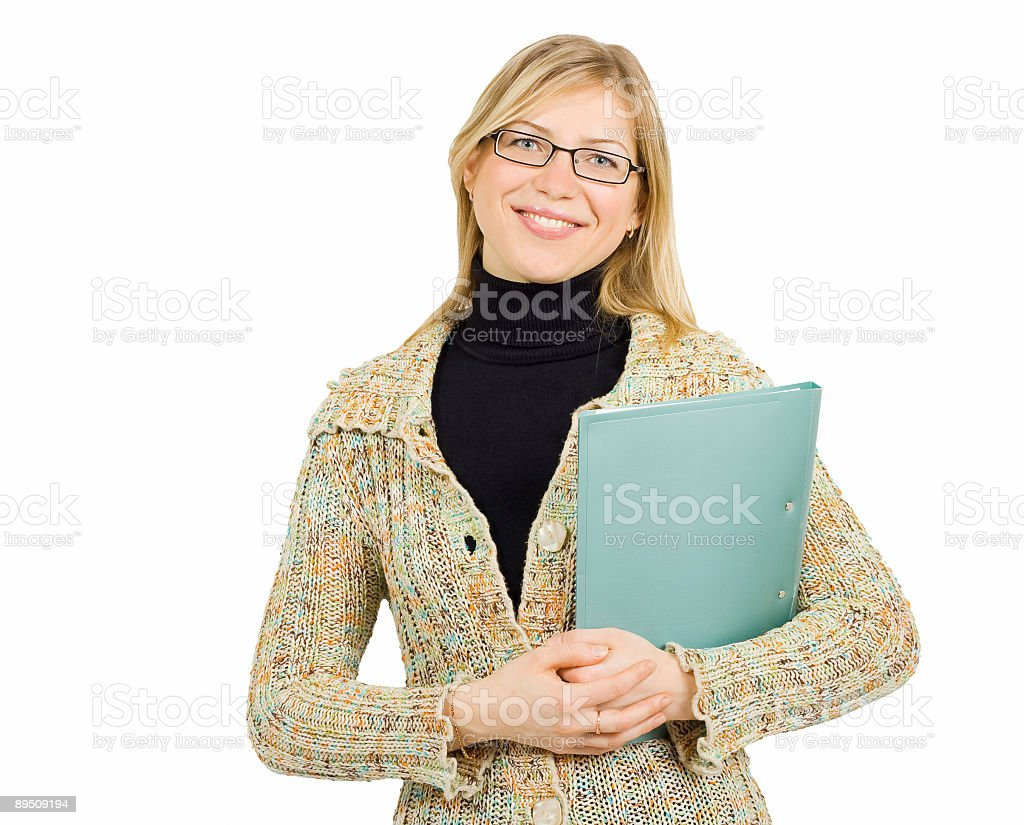 businesswoman in reading glasses and with folder royalty-free stock photo
