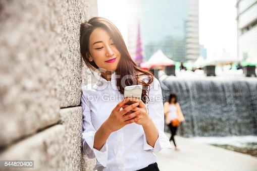 istock Businesswoman in Seoul downtown 544820400