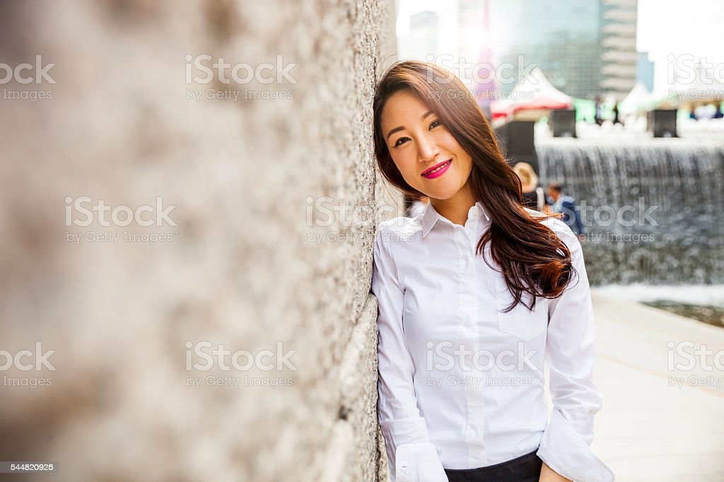 Businesswoman in Seoul downtown stock photo