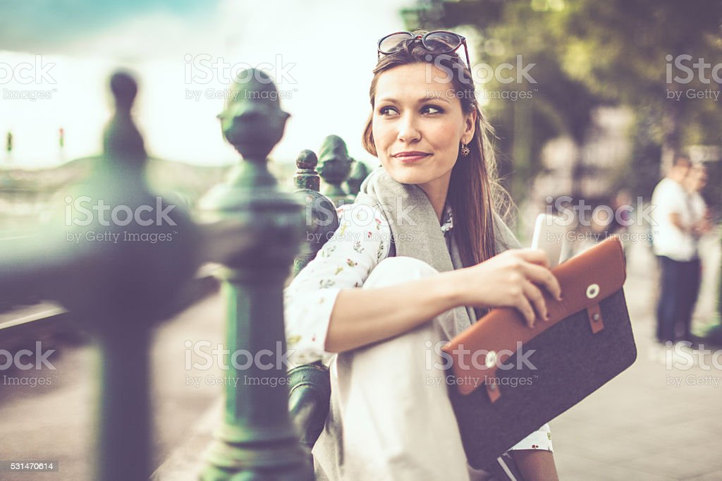 Businesswoman in the city stock photo
