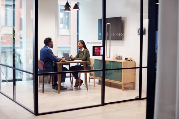 女商人在會議室面試男性求職者 - 虛擬辦公室 個照片及圖片檔