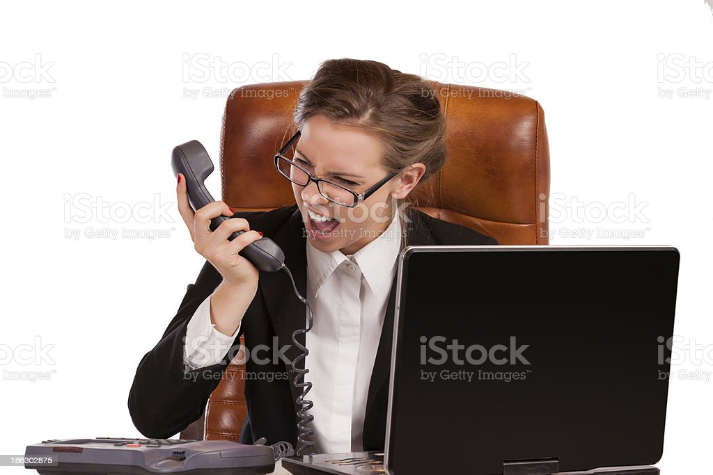 businesswoman is screaming in rage royalty-free stock photo
