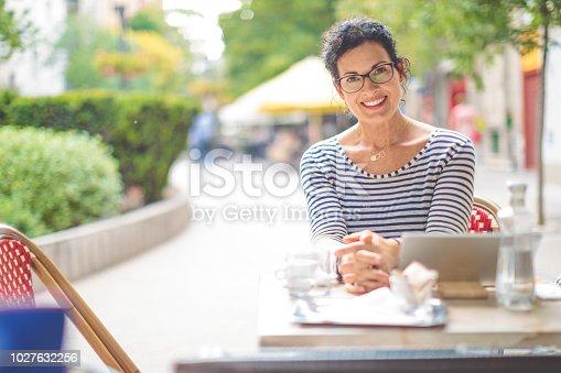 Businesswoman is taking a break in the city