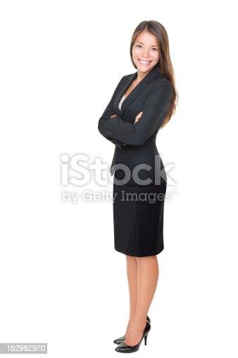 istock Businesswoman isolated full length on white background 152982970