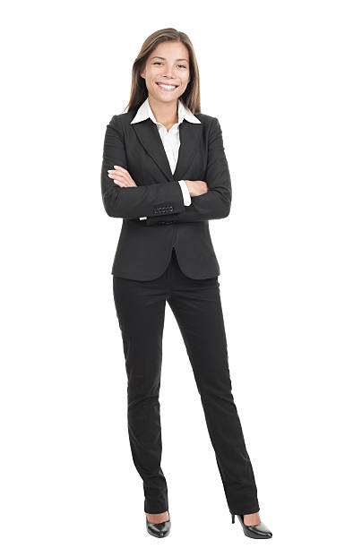 businesswoman isolated on white background - woman suit stock photos and pictures