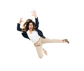 Businesswoman jumping and looking angry