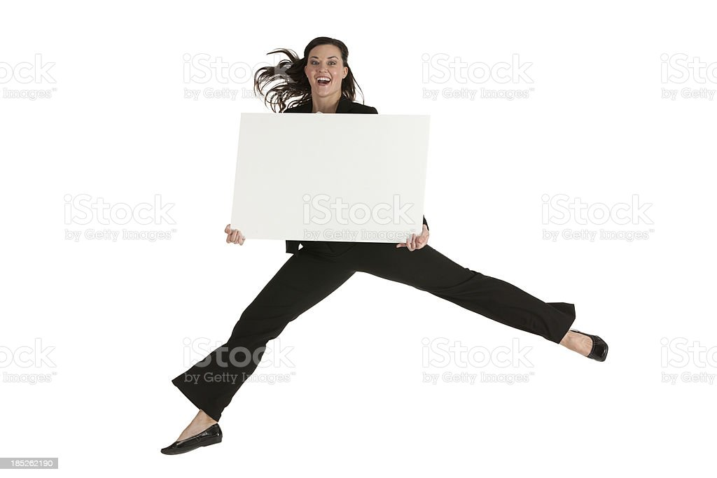 Businesswoman jumping with a placard royalty-free stock photo
