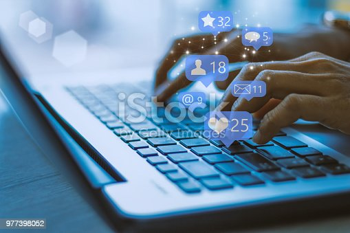 Businesswoman laptop using ,Social, media, Marketing concept / blue tone