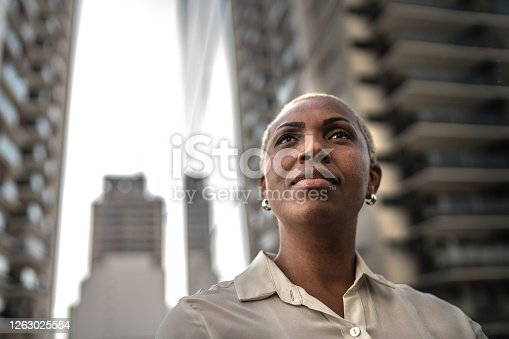istock Businesswoman loking away outdoors 1263025554