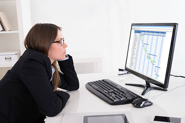 Businesswoman Looking At Gantt Chart On Computer Young Businesswoman Looking At Gantt Chart On Computer At Office gantt chart stock pictures, royalty-free photos & images