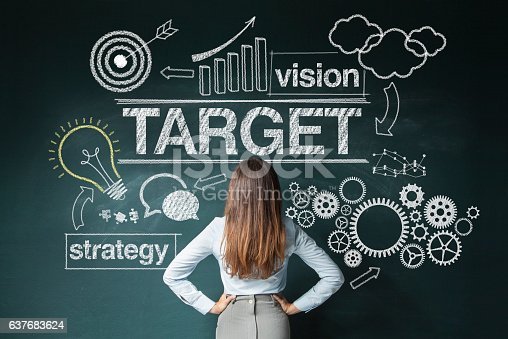istock Businesswoman looking at strategy sketch 637683624