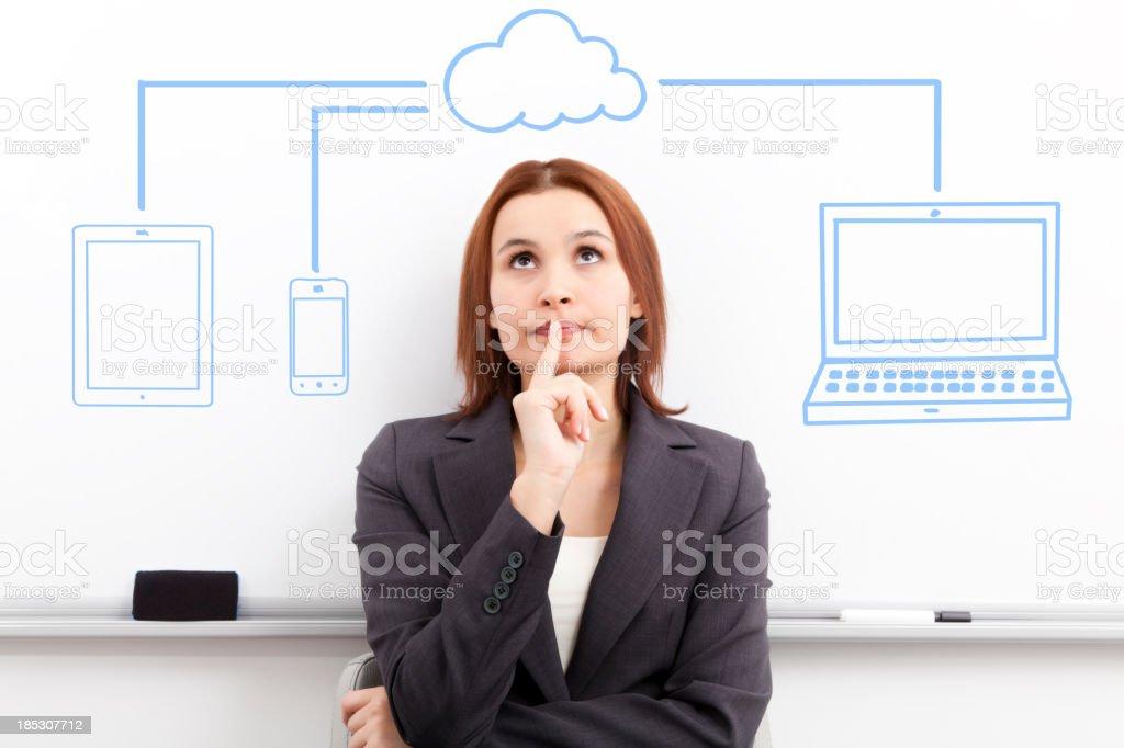 Businesswoman looking cloud computing diagram. royalty-free stock photo