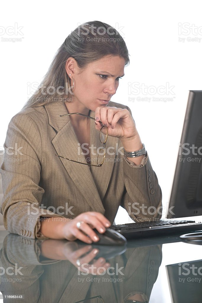 Businesswoman Looking Intently At Computer royalty-free stock photo