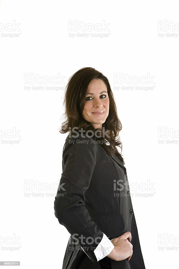 Businesswoman Looking Over Her Sholder royalty-free stock photo