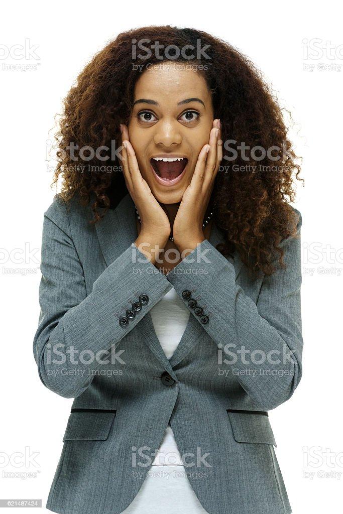 Donna d'affari guardando sconvolto foto stock royalty-free