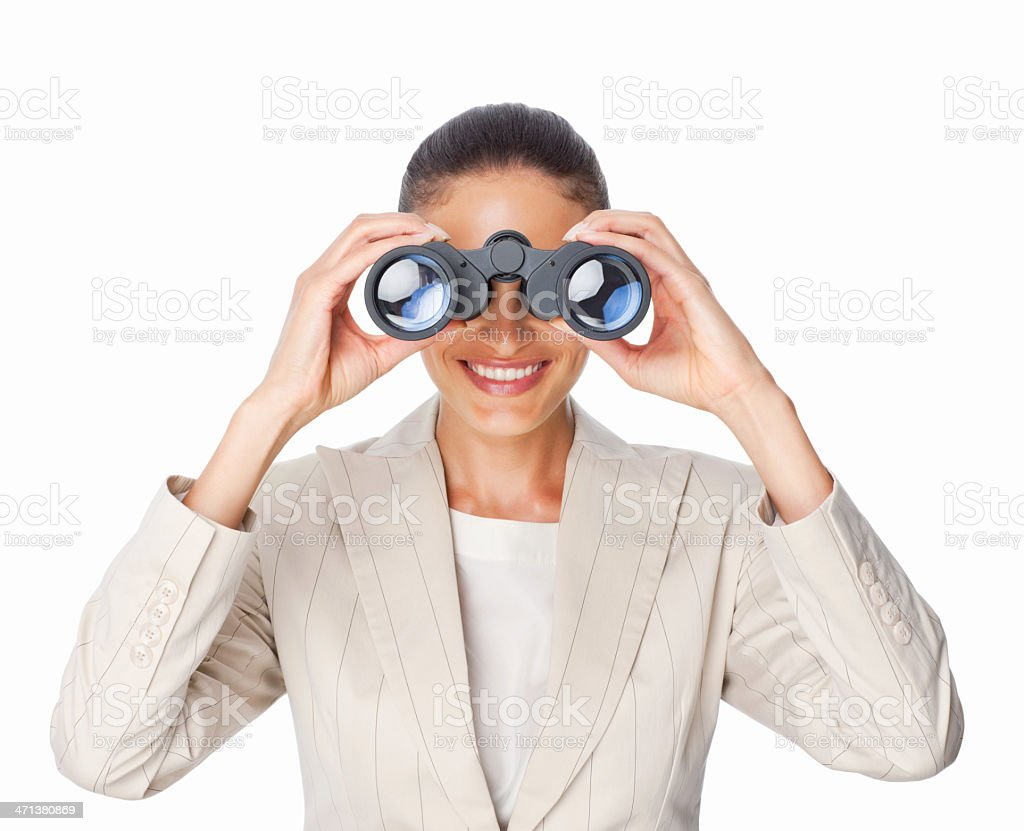 Businesswoman Looking Through Binoculars - Isolated royalty-free stock photo