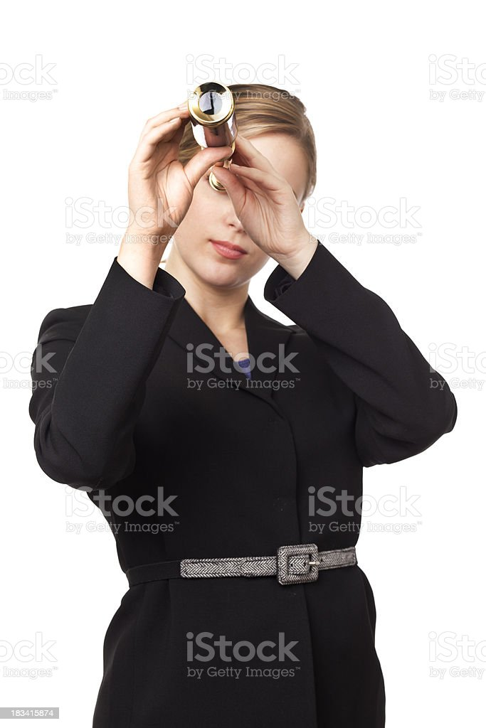 Businesswoman Looking to the Future with Telescope, on White Background royalty-free stock photo