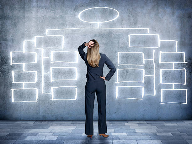 Businesswoman looking up at flow chart on wall A businesswoman looks in bewilderment at an imaginary flow chart on the wall in front of her.  The businesswoman is standing with her back to the camera and her hand is on top of his head.  The flow chart bubbles are empty. organization chart stock pictures, royalty-free photos & images