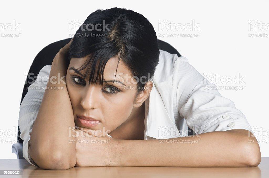 Businesswoman looking worried stock photo