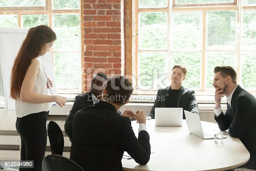 1085713886 istock photo Businesswoman making offer to multi-ethnic partners, presenting project at meeting 912234980