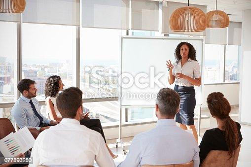 istock Businesswoman Making Presentation Shot Through Doorway 677893280