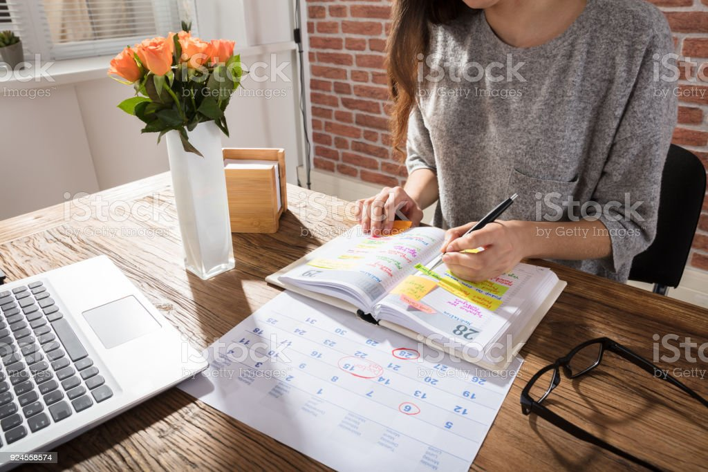 Businesswoman Making Schedule On Personal Organizer
