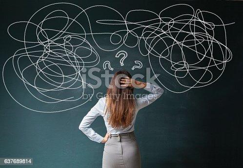 istock Businesswoman Mess on Blackboard 637689814