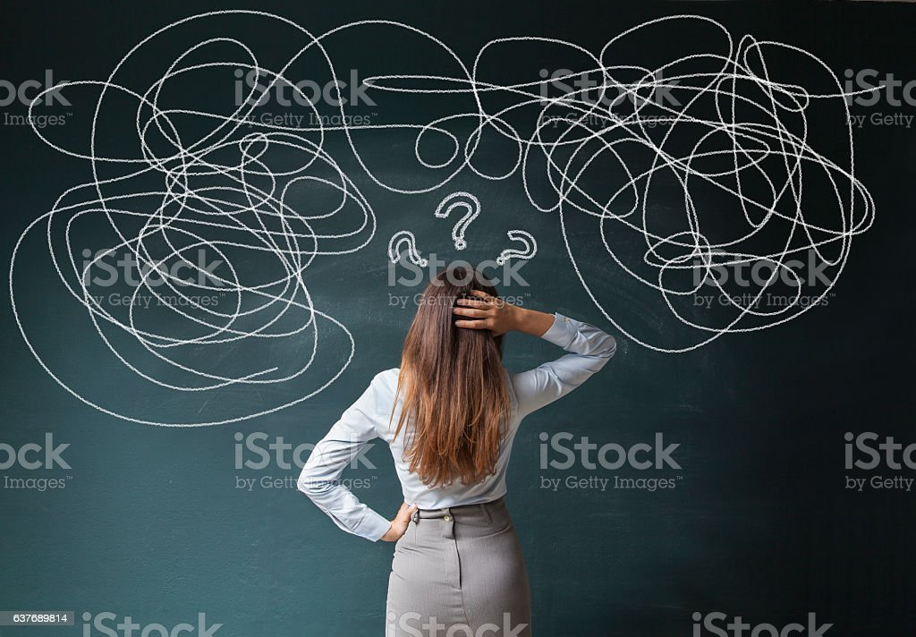 Businesswoman Mess on Blackboard stock photo