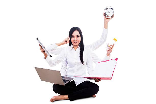 Businesswoman multitasking isolated