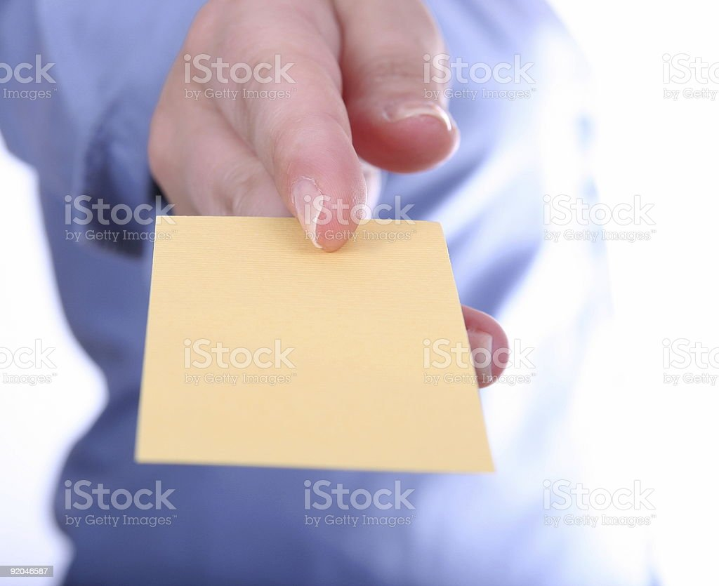 businesswoman offering businesscard royalty-free stock photo