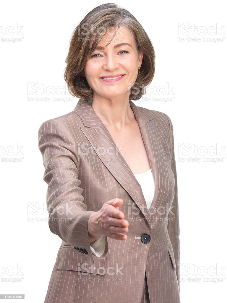 Businesswoman offering for handshake royalty-free stock photo