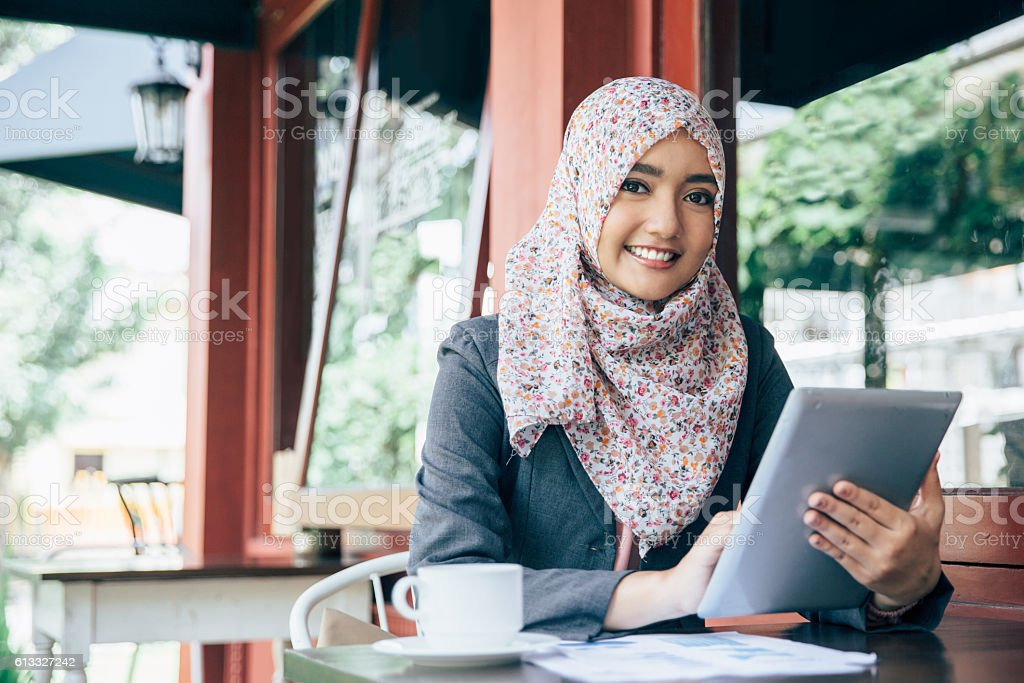 businesswoman on a coffee break stock photo