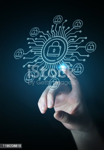 istock Businesswoman on blurred background protecting her datas with thin line security interface 1195208815