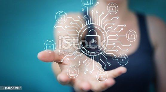 683716072 istock photo Businesswoman on blurred background protecting her datas with thin line security interface 1195209567