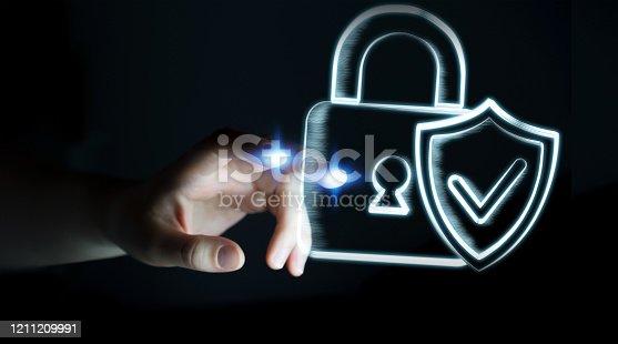 683716072 istock photo Businesswoman on blurred background touching a hand-drawn antivirus system 1211209991
